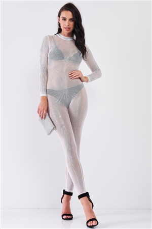 White Rhinestone Mock Neck Embroidery Sheer Mesh Long Sleeve Bodycon Jumpsuit /1-1-1