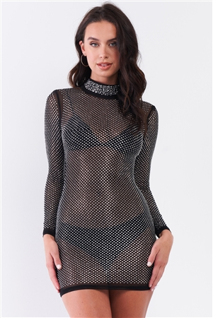 Black Rhinestone Myriad Sheer Mesh Long Sleeve Mock Neck Bodycon Mini Dress /1-3-1