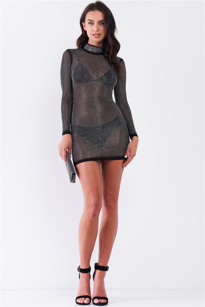 Black Rhinestone Myriad Sheer Mesh Long Sleeve Mock Neck Bodycon Mini Dress /1-1-3-2
