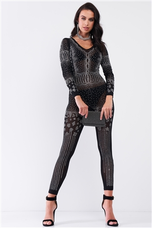 Black Rhinestone V-Neck Embroidery Sheer Mesh Long Sleeve Bodycon Jumpsuit /1-1-1-1