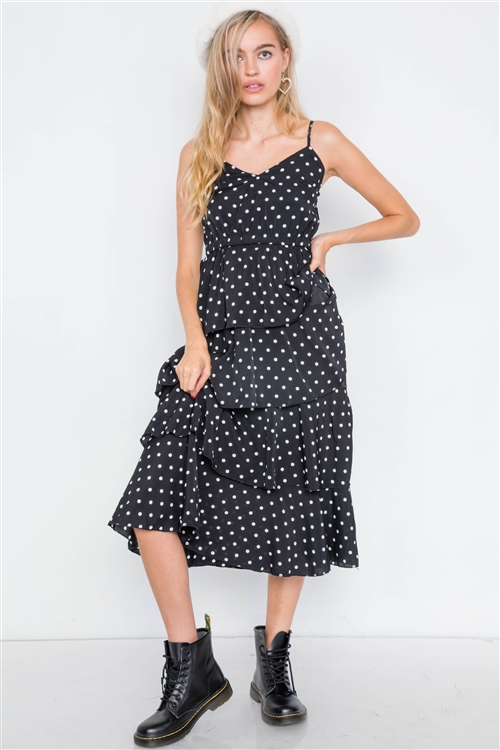 Black Tiered Ruffle Polkadot Midi Dress