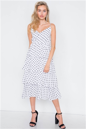 White Tiered Ruffle Polkadot Midi Dress