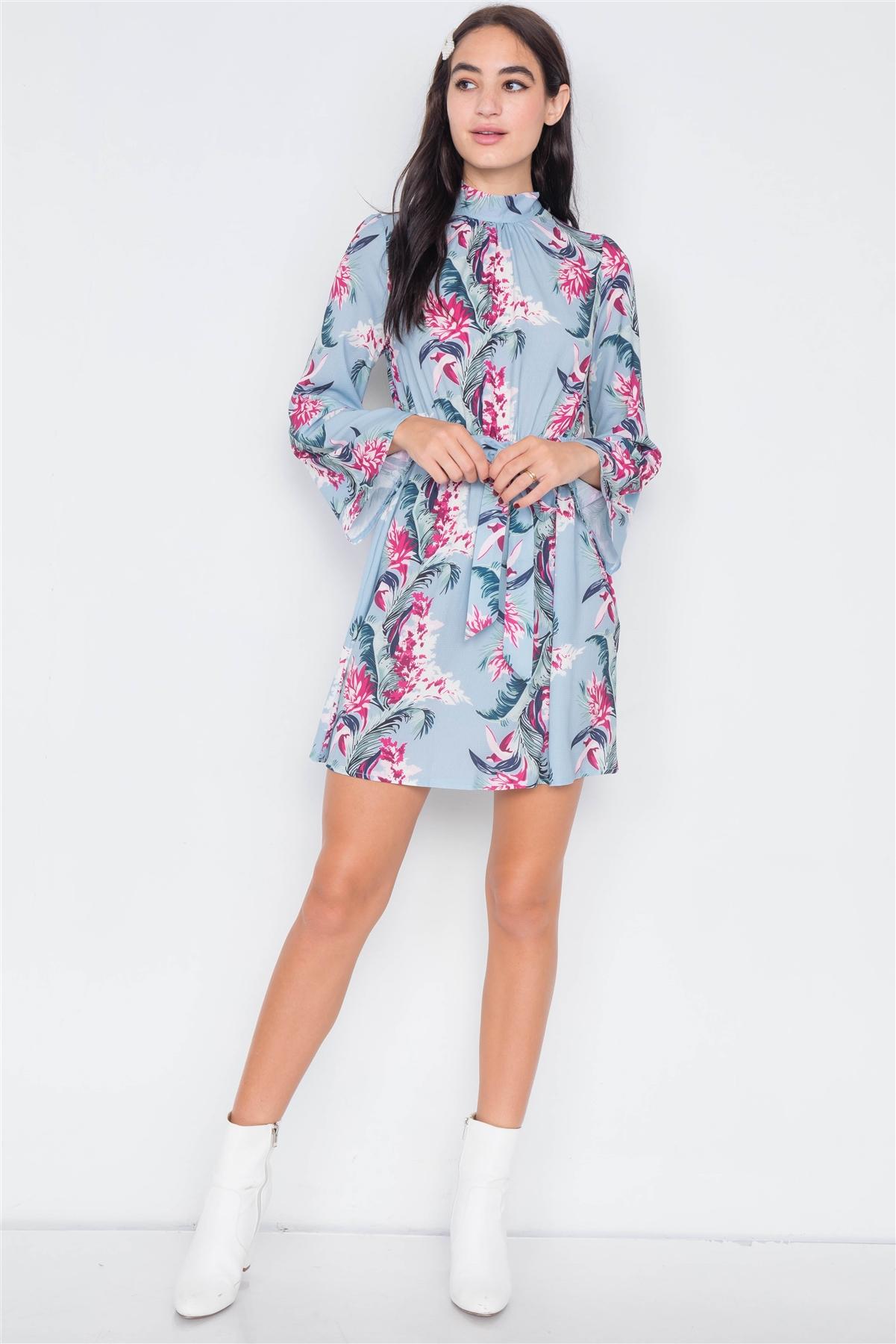 Blue Floral Print Halter Open Back Mini Dress