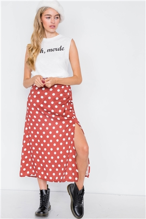 Satin Rust White Polkadot Medium Side Slit Midi Skirt