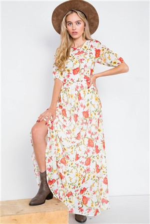 Beige Chic Semi-Sheer Floral Print Maxi Dress