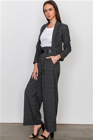 Black Plaid Print Blazer And Belted Pants Set