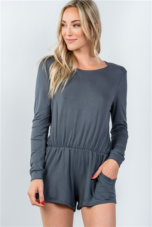 Grey Comfy Tie-Back Long Sleeve Romper