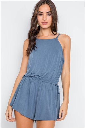 Blue Cross Low-Back Bow Romper