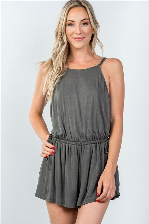 Charcoal Cross Low-Back Romper