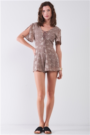 Taupe Floral Embroidery Lace-Up Front V-Neck & Back Slit Sleeve Detail Romper /2-2