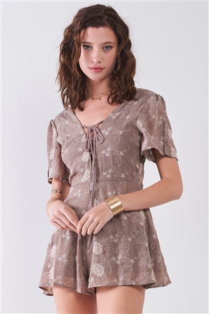 Taupe Floral Embroidery Lace-Up Front V-Neck & Back Slit Sleeve Detail Romper /2-2-2