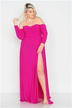 Plus Size Magenta Off-The-Shoulder Elegant Maxi Dress