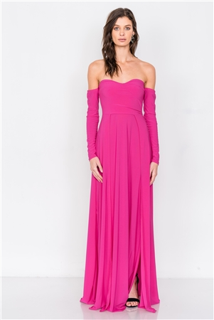Magenta Off-The-Shoulder Elegant Maxi Dress