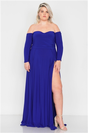 Plus Size Royal Blue Off-The-Shoulder Elegant Maxi Dress