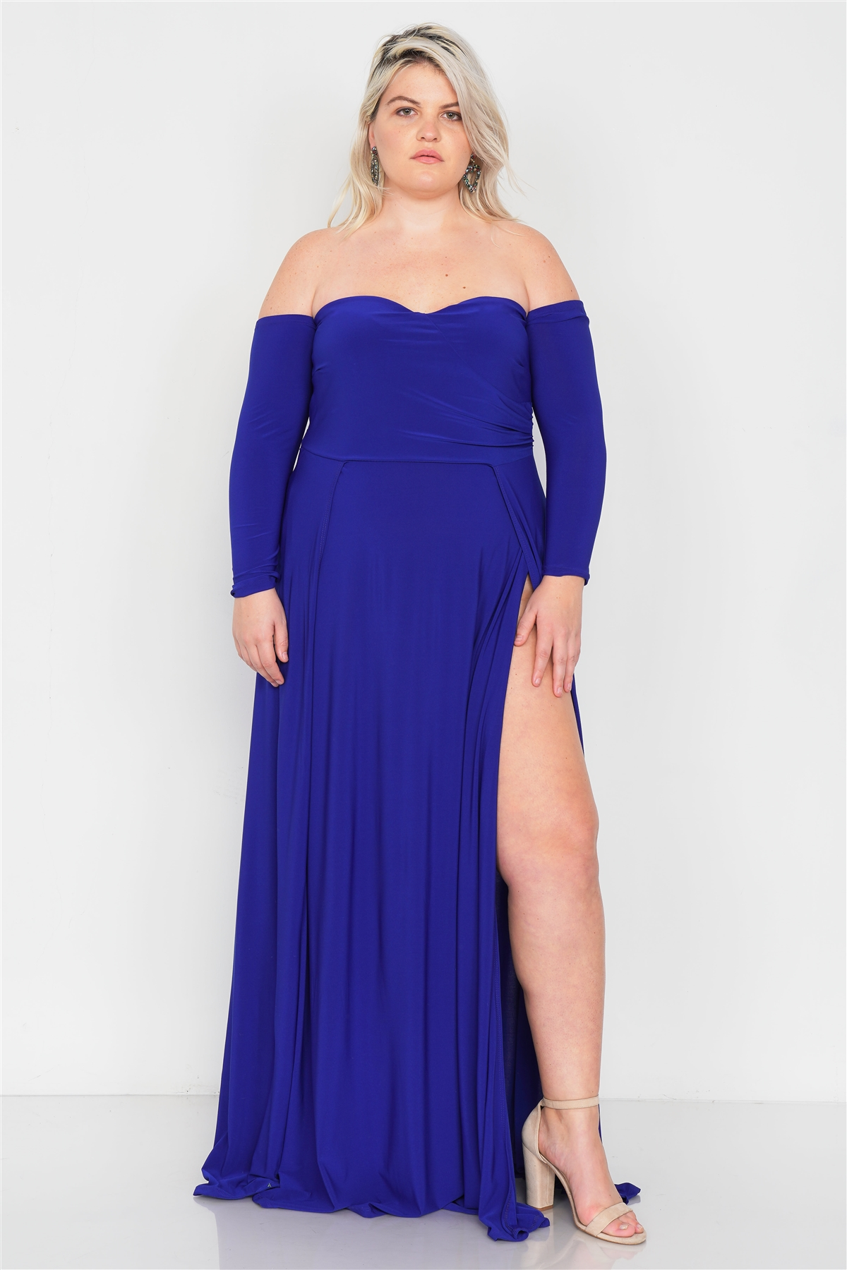 Plus Size Royal Blue Off-The-Shoulder Elegant Maxi Dress /3-2-1