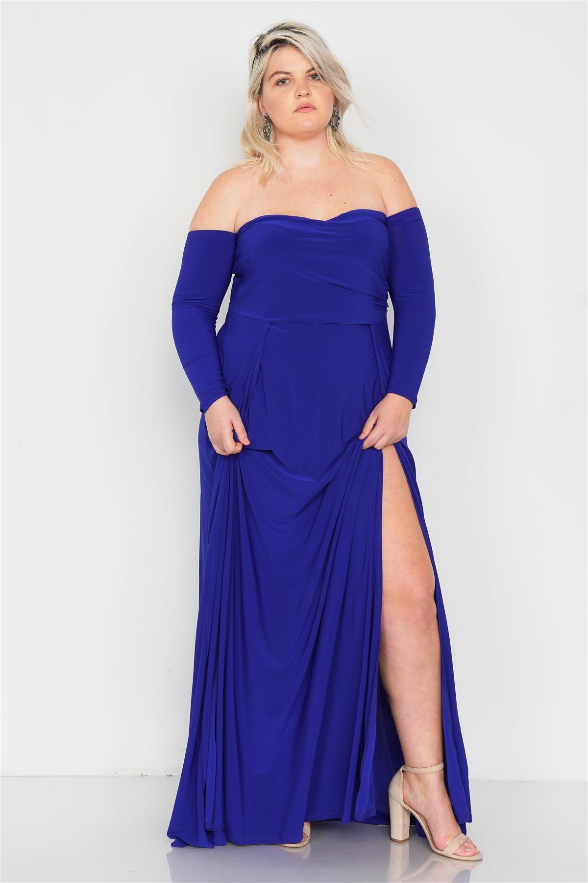 Plus Size Royal Blue Off-The-Shoulder Elegant Maxi Dress /2-2-2