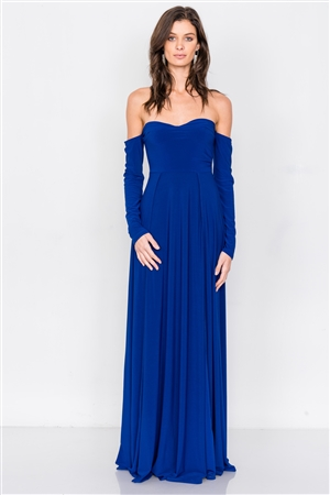Royal Blue Off-The-Shoulder Elegant Maxi Dress