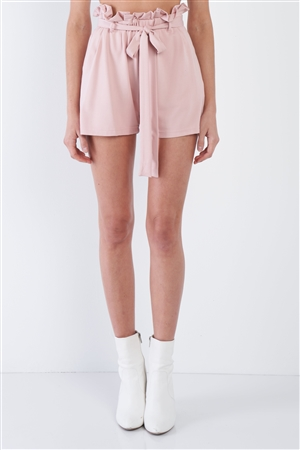 Pink High Waist Frill Trim Casual Office Chic Shorts