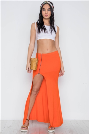 Orange Solid Zip-Front Side-Slit Maxi Skirt