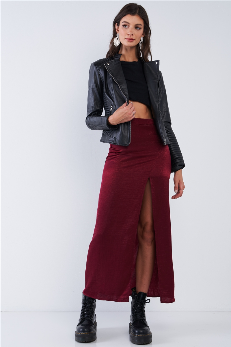 Burgundy Bodycon Front Slit Maxi Skirt