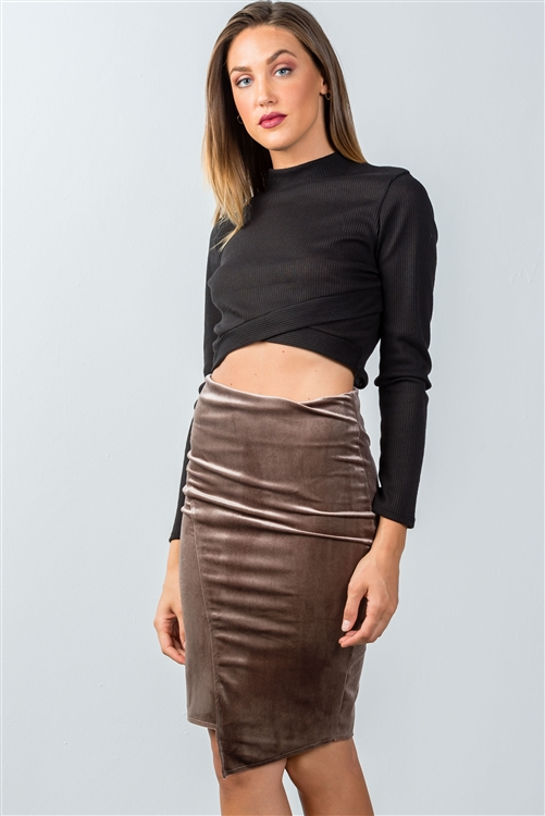 Mocha Velvet Pencil Mini Skirt