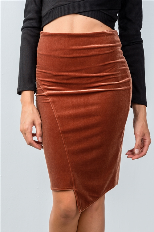 Rust Velvet Pencil Mini Skirt