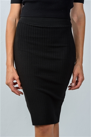 Black Ribbed Knit Knee Length Pencil Skirt