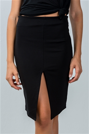 Black Front Slit Mini Skirt