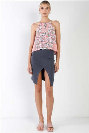 Dark Grey  Front Slit Mini Skirt