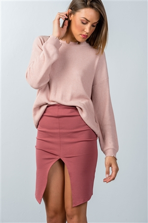 Dark Rose Front Slit Mini Skirt