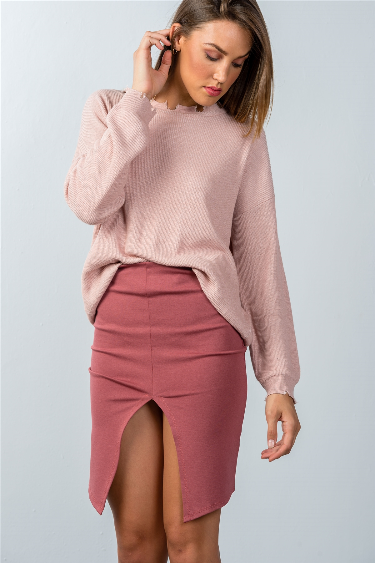 aed9f72e8 Dark Rose Front Slit Mini Skirt /3-2-1