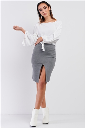 Heather Grey  Front Slit Mini Skirt /3-2-1