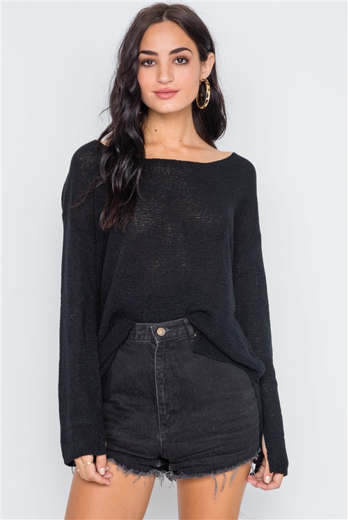Black Scoop Neck Long Sleeves Sweater