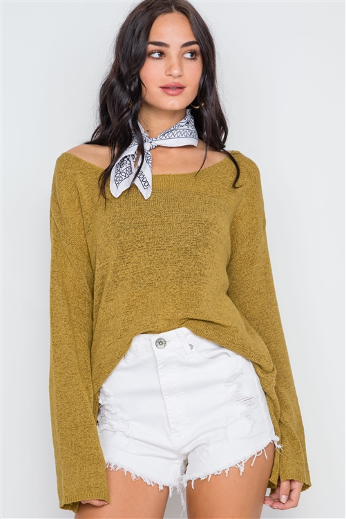 Gold Scoop Neck Long Sleeves Sweater