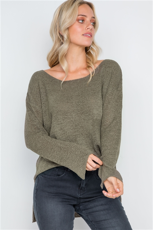 Olive Scoop Neck Long Sleeves Sweater