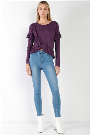 Grape Cotton Asymmetrical Layered Raw Cut Flounce Top