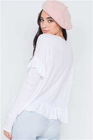White Cotton Asymmetrical Layered Raw Cut Flounce Top