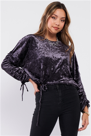 Grape Velvet Ruched Drawstring Sleeve Sweater