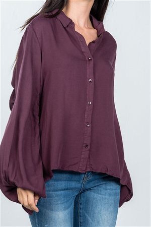 Plum Tie Back Ruched Bell Sleeve Shirt