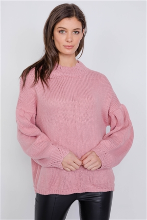 Mauve Crotchet Knit Drop Shoulder Casual Oversized Sweater