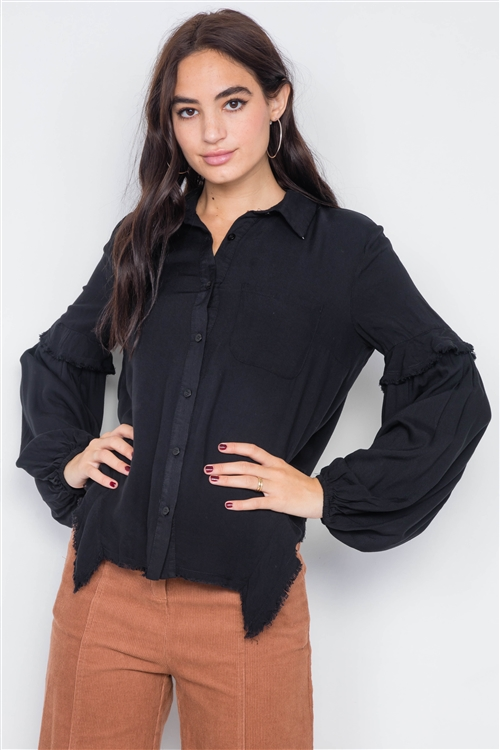 Black Front Button Raw Handkerchief Hem Button Front Top