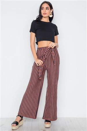 Rust Navy Stripe Knit Front tie Wide Leg Palazzo