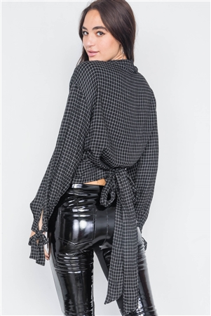 Black & White Plaid Side Wrap Knot Crop Top