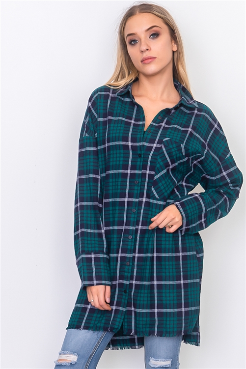 Teal Frayed Hem Plaid Button Down Shirt Dress
