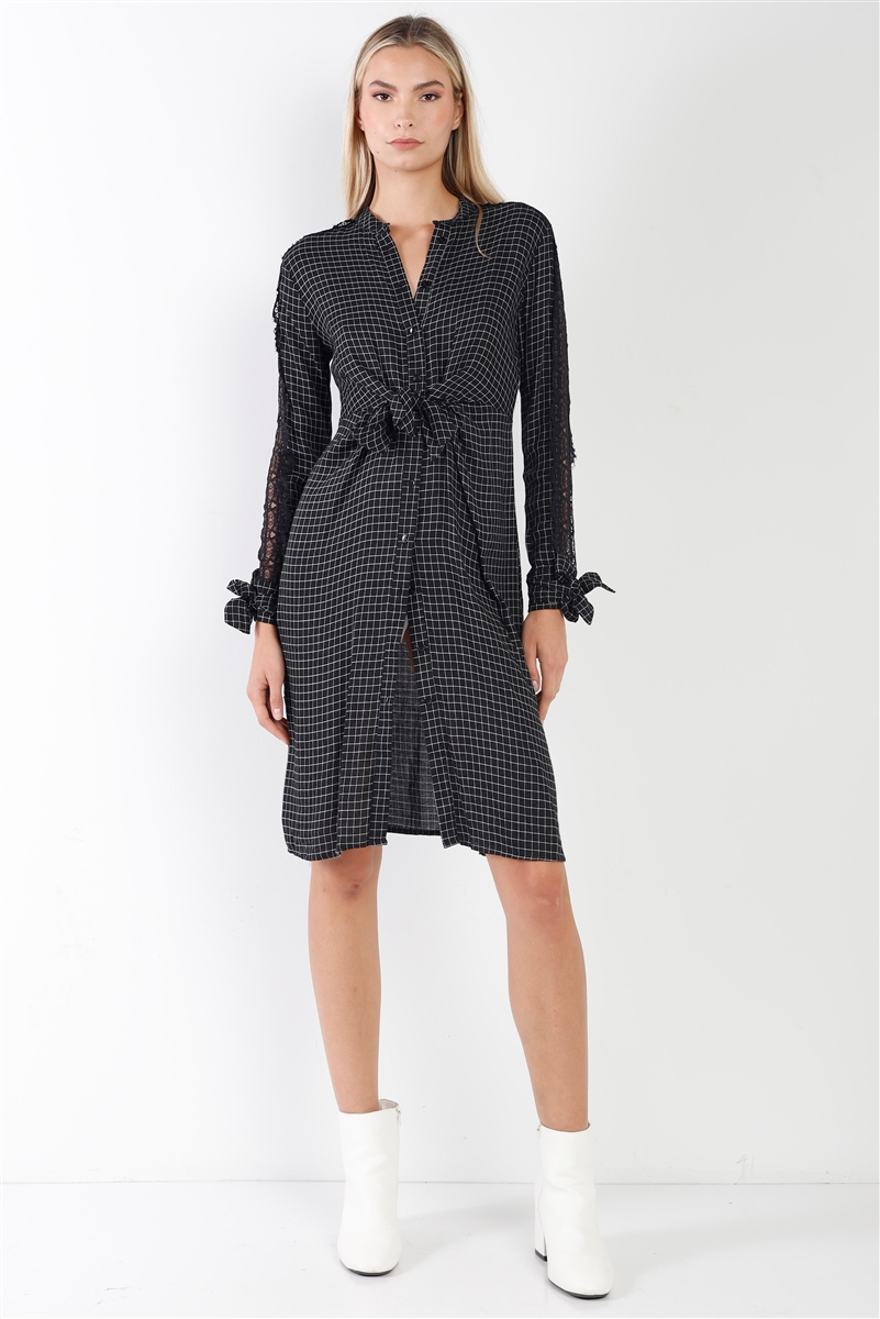 Black Plaid Print Wrap Tie Lace Trim Long Sleeve Midi Dress /3-2-1