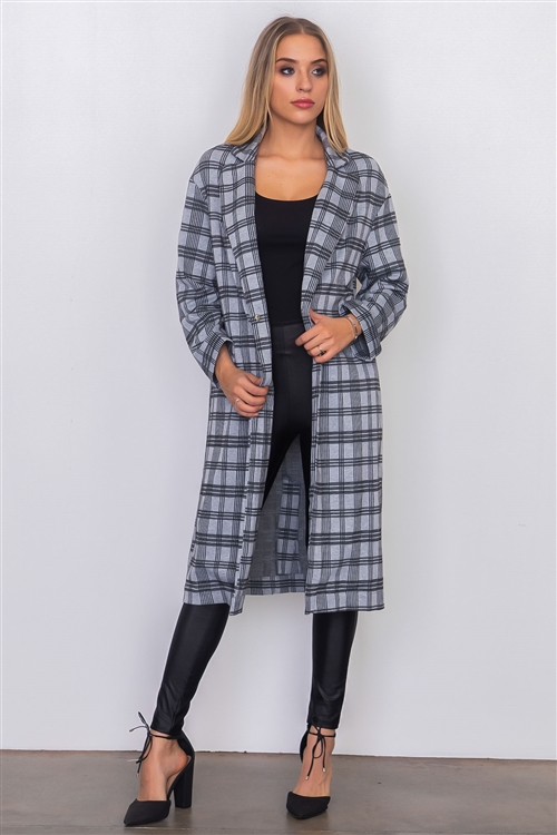 Grey Plaid Woven Tailored Long Jacket