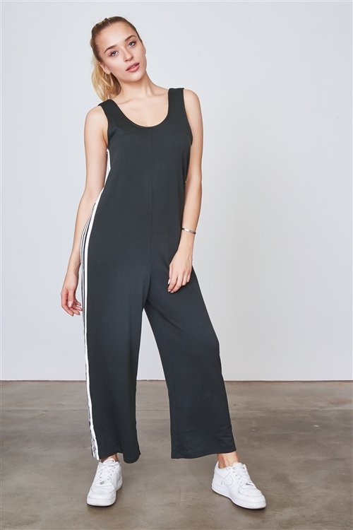 Green Side Stripe Contrast Sleeveless Jumpsuit