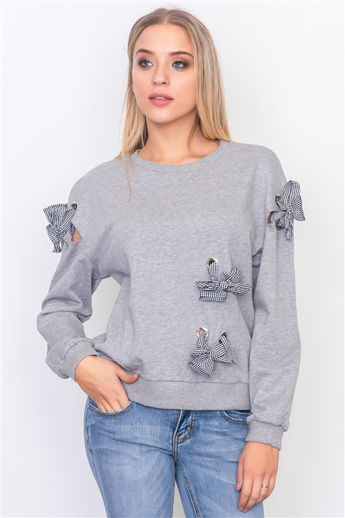 Grey Random Ribboned Detail Sweater