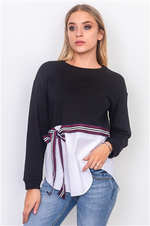 Black Waist Tie French Terry Top