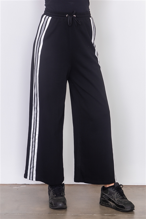 Black Side Tape French Terry Pants